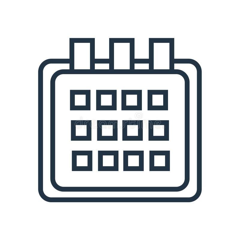 Calendar symbolsvektorn som isoleras på vit bakgrund, kalendertecken stock illustrationer