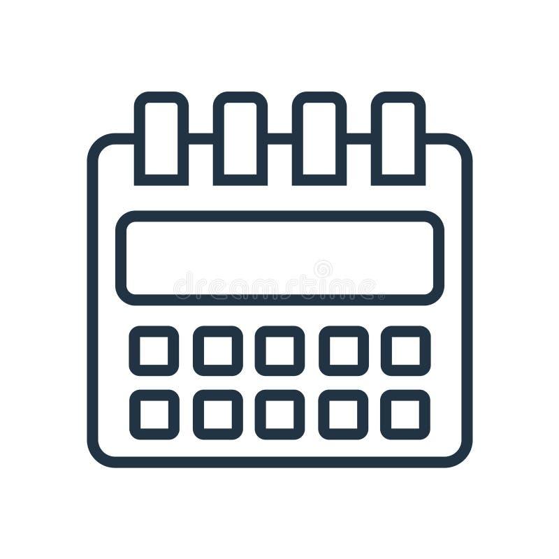 Calendar symbolsvektorn som isoleras på vit bakgrund, kalendertecken vektor illustrationer