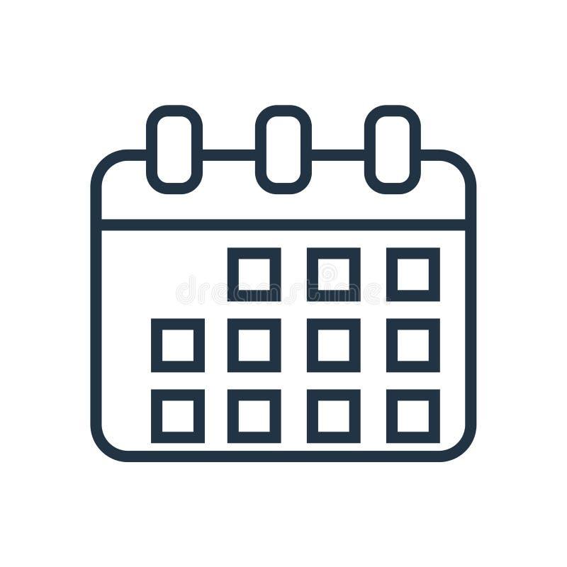 Calendar symbolsvektorn som isoleras på vit bakgrund, kalendertecken royaltyfri illustrationer