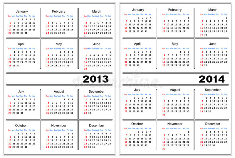 Calendar Template 20132014 Stock Vector Illustration Of