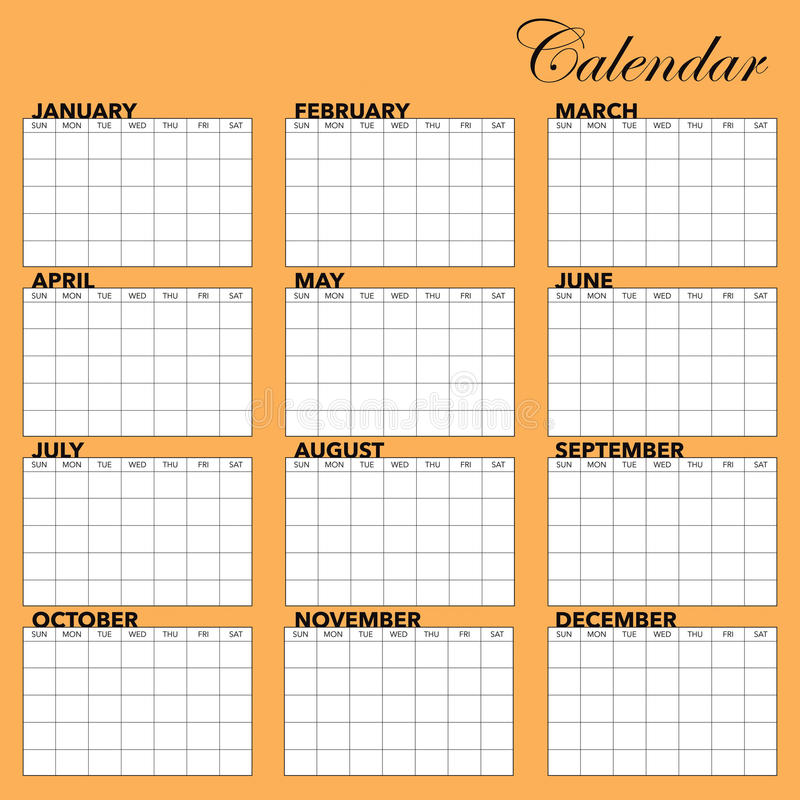 Calendar Template. A template for setting up a calendar for any year royalty free illustration