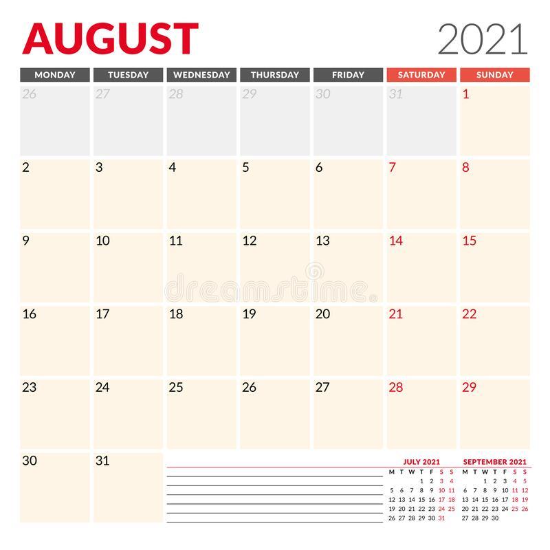 Calendar Template For August 2021. Business Monthly ...