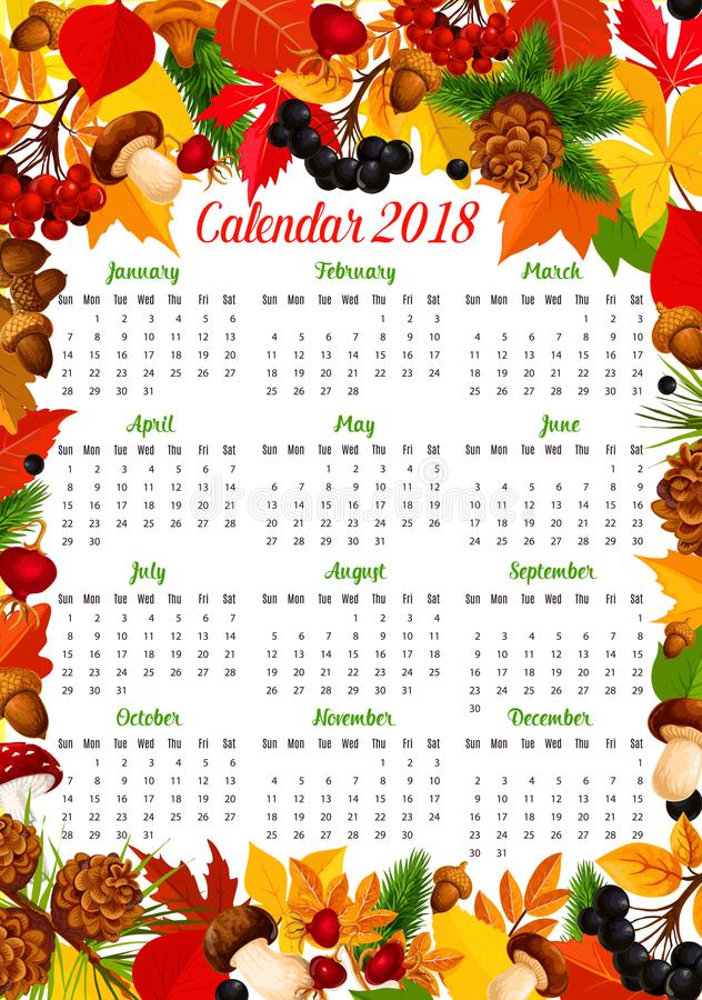 Calendar 2018 Template With Autumn Nature Frame Stock Vector
