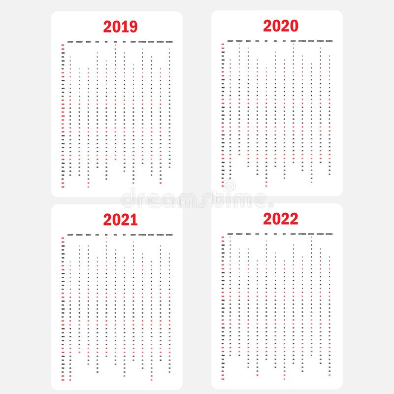 Calendar 2019, Calendar 2020, Calendar 2021 and 2022 template.Calendar design.Yearly calendar vector design stationery vector illustration