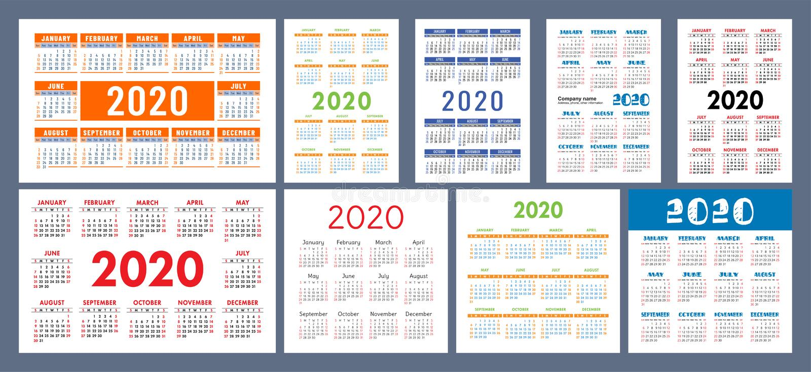 Calendar 2020 template. Calender design set. Vector square, horizontal and vertical layout. Colorful English collection. Week. Starts on Sunday royalty free illustration