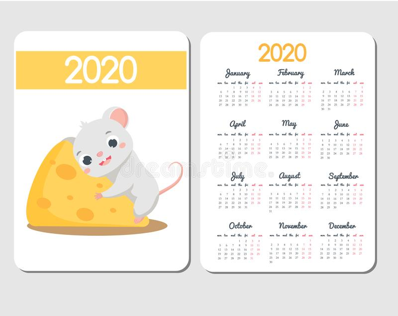 2020 calendar template with cartoon mouse. Chinese new year design with funny rat character on cheese stock illustration