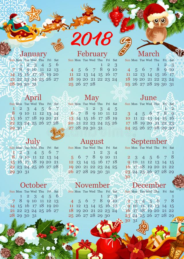 Calendar Template With Christmas And New Year Gift Stock Vector