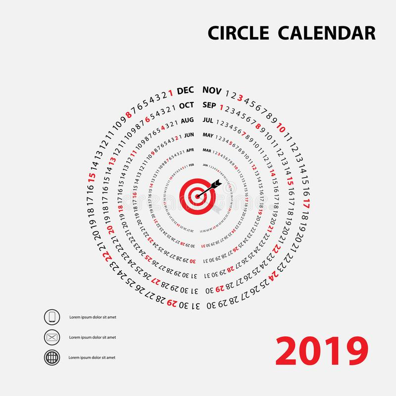 2019 Calendar Template.Circle calendar.Calendar 2019 Set of 12 M vector illustration