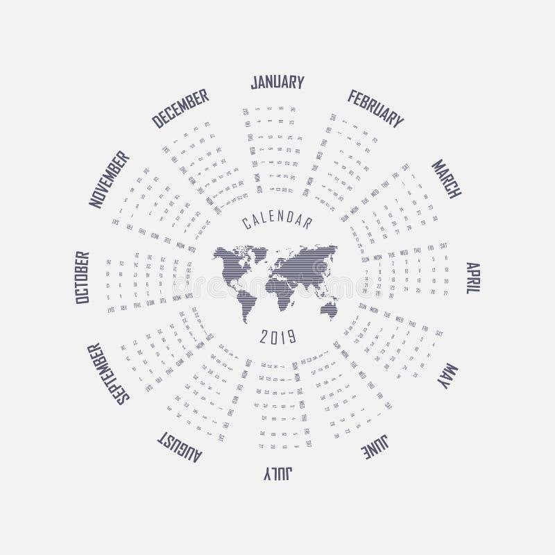 2019 Calendar Template.Circle calendar template.Calendar 2019 Se royalty free illustration