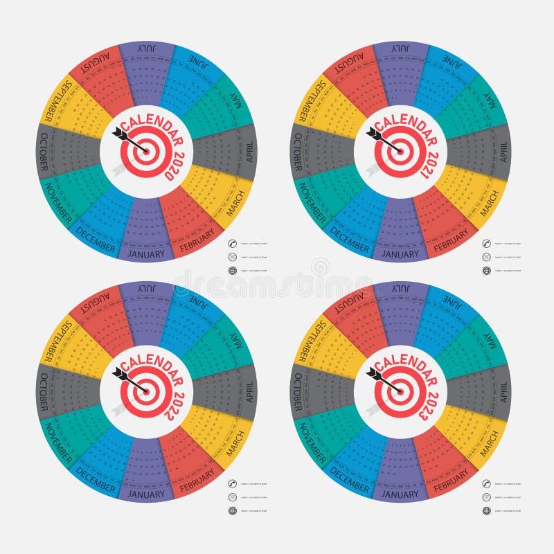 Calendar 2020, 2021,2022 and 2023 Calendar template.Calendar design.Yearly calendar vector design stationery template.Vector stock illustration