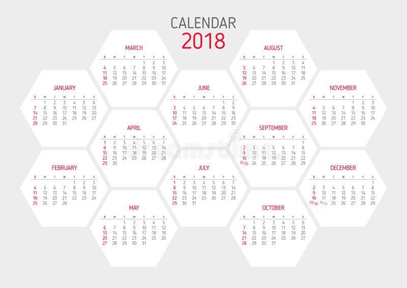 Calendar 2018 Template Hexagon Shape Stock Vector Illustration Of