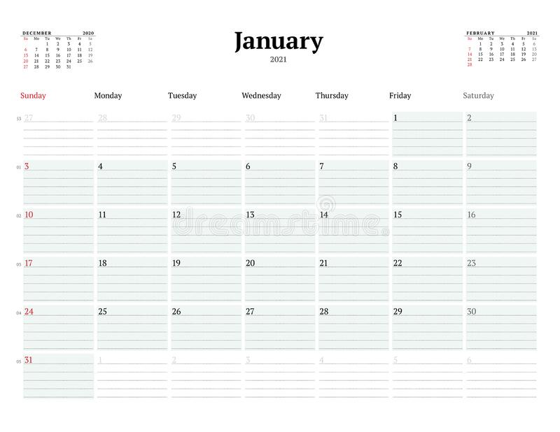Calendar Template For January 2021. Business Monthly ...