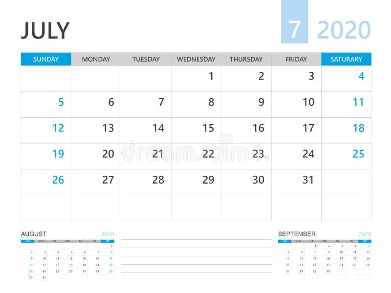 Calendar 2020 template, JULY 2020 year, desk calendar 2020 layout, corporate design planner template. Blue background vector illustration
