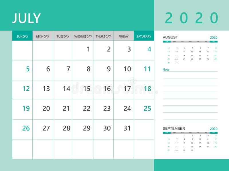 Calendar 2020 template, JULY 2020 year, desk calendar 2020 layout, corporate design planner template. Green background vector illustration
