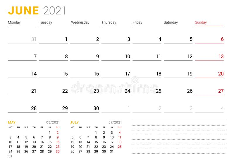 Calendar Template For June 2021. Business Monthly Planner ...