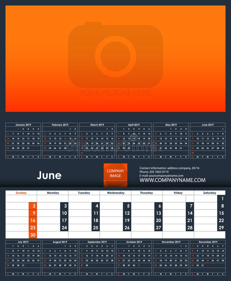2019 Calendar template. June. Place for your photo. Business Planner Template. Stationery Design. Week starts Sunday. 1 large month on the page and all year stock illustration