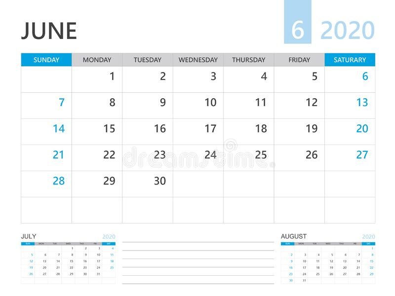 Calendar 2020 template, JUNE 2020 year, desk calendar 2020 layout, corporate design planner template. blue color. Calendar 2020 template, JUNE 2020 year, desk vector illustration