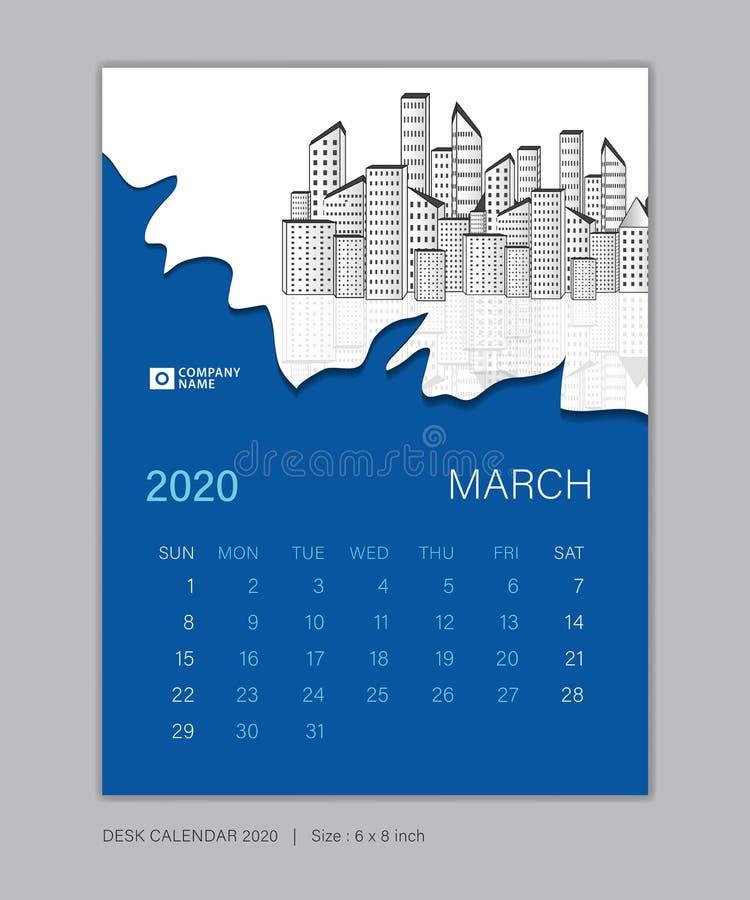 Calendar 2020 template, MARCH, Desk Calendar for 2020 year, week start on sunday, planner design 向量例证