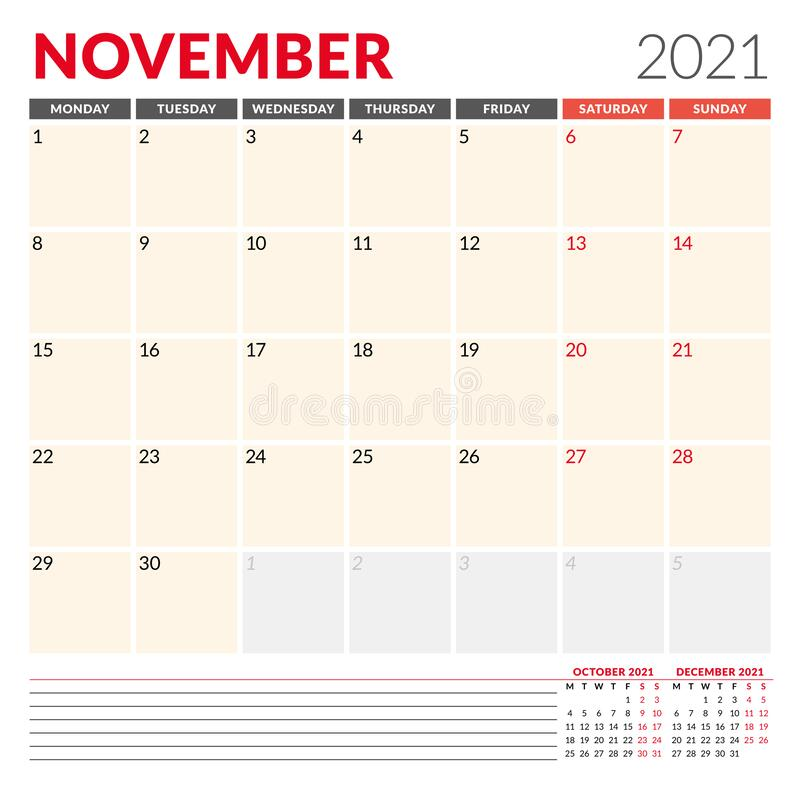 Calendar Template For 2021 Year. Business Monthly Planner ...