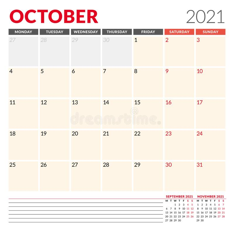 Calendar Template For October 2021. Business Monthly ...