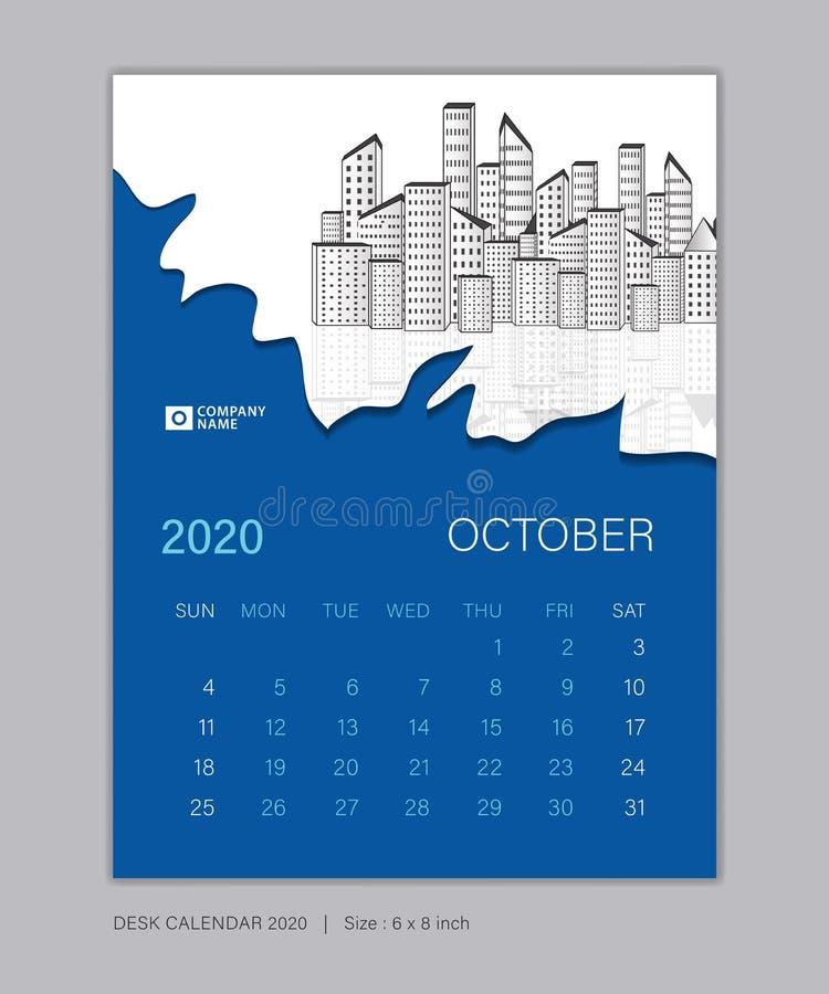 Calendar 2020 template, OCTOBER, Desk Calendar for 2020 year, week start on sunday, planner design 皇族释放例证