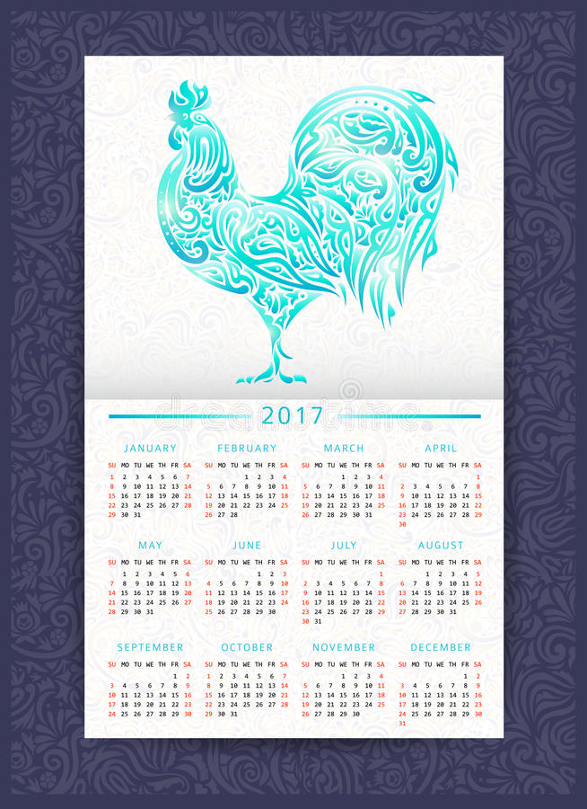 Calendar template with patterned rooster stock illustration