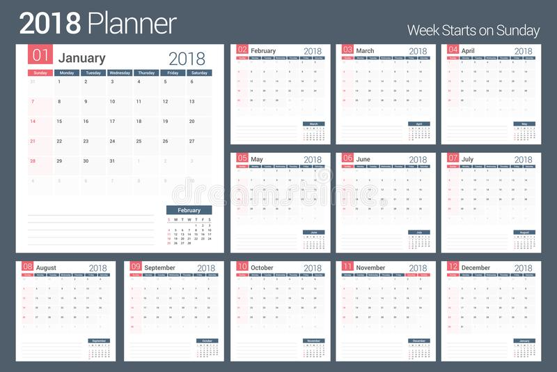 2018 Calendar Stock Vector Illustration Of Season Organizer