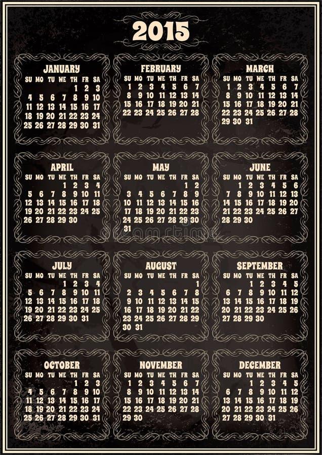Calendar Template For 2015 In Retro Style Stock Vector