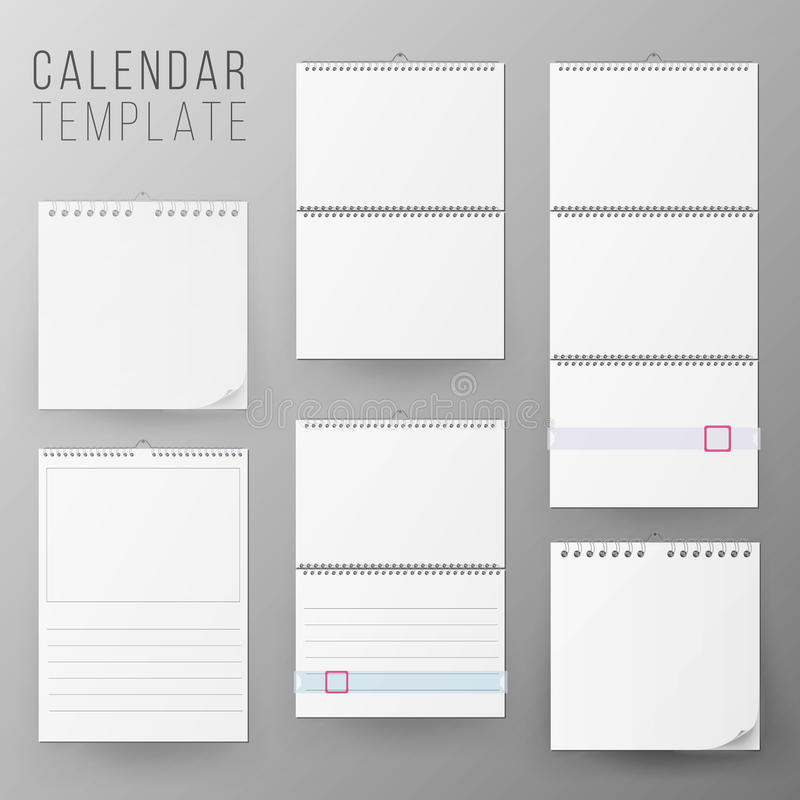 Calendar Template Set Vector Realistic Calendar Blank Hanging On A