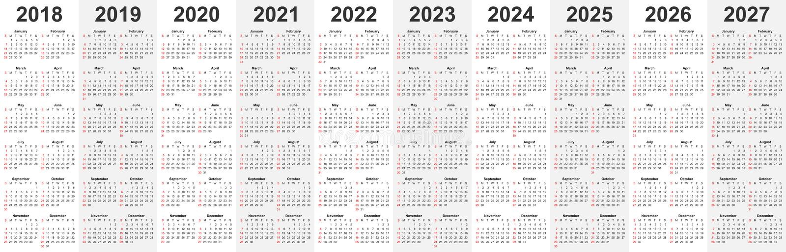 Calendar template set for 2018, 2019, 2020, 2021, 2022, 2023, 2024, 2025, 2026, and 2027 years in one vector file. stock illustration