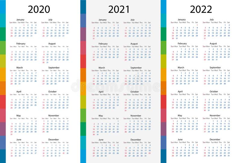 Calendar template set for 2020, 2021, 2022 years royalty free illustration