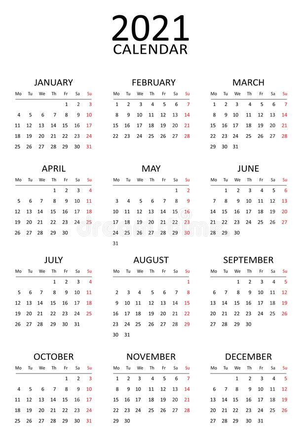 2021 Calendar Template Simple Black And White Design Week Starts Monday 12 Months On One Page Annual Project Stock Vector Illustration Of American Calendar 185615466