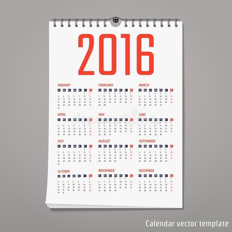 calendar template 2016 stock illustration illustration of event