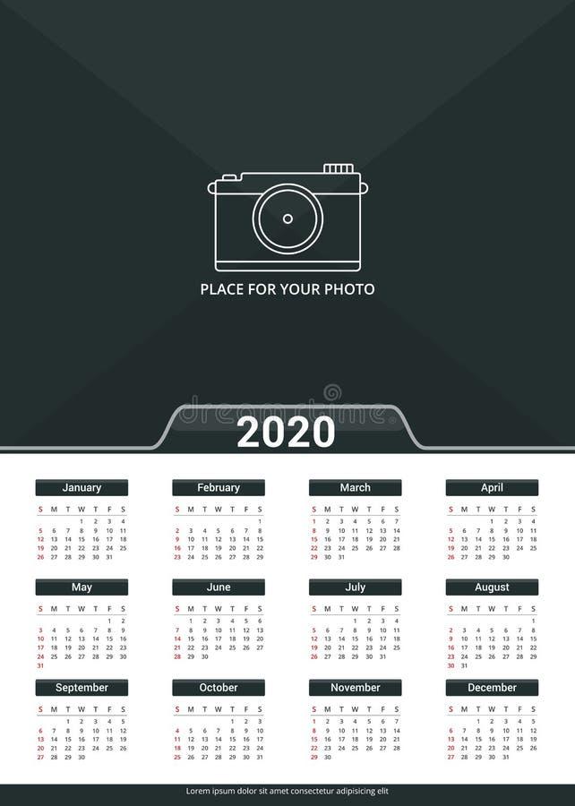 2020 Calendar Template stock illustration