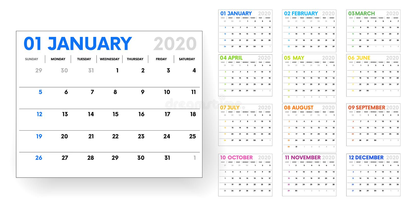 2020 calendar. calendar template on white background. Editable vector file available. English and sunday to monday vector illustration