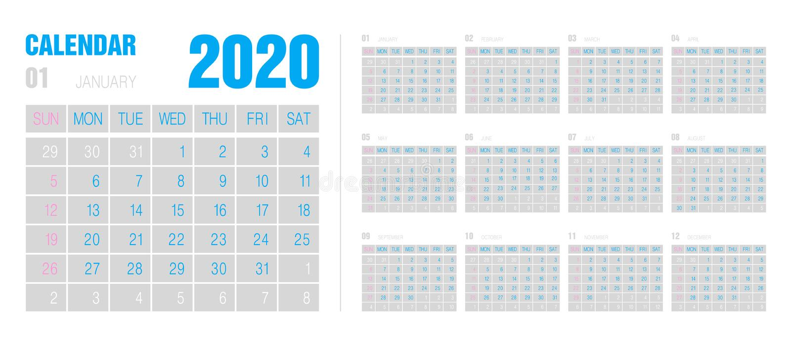 Calendar template for 2020 year. minimalist style. Corporate and business calendar. stock illustration