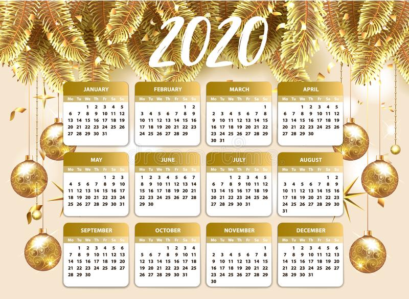 Calendar Template 2020 year. Planner diary, Corporate and business calendar. 2020 calendar in classic christmas sryle with gold. Christmas ball and stars with stock illustration