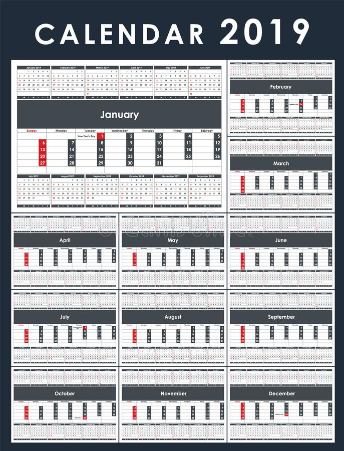 Calendar Template for 2019 Year. Set of 12 Months stock illustration