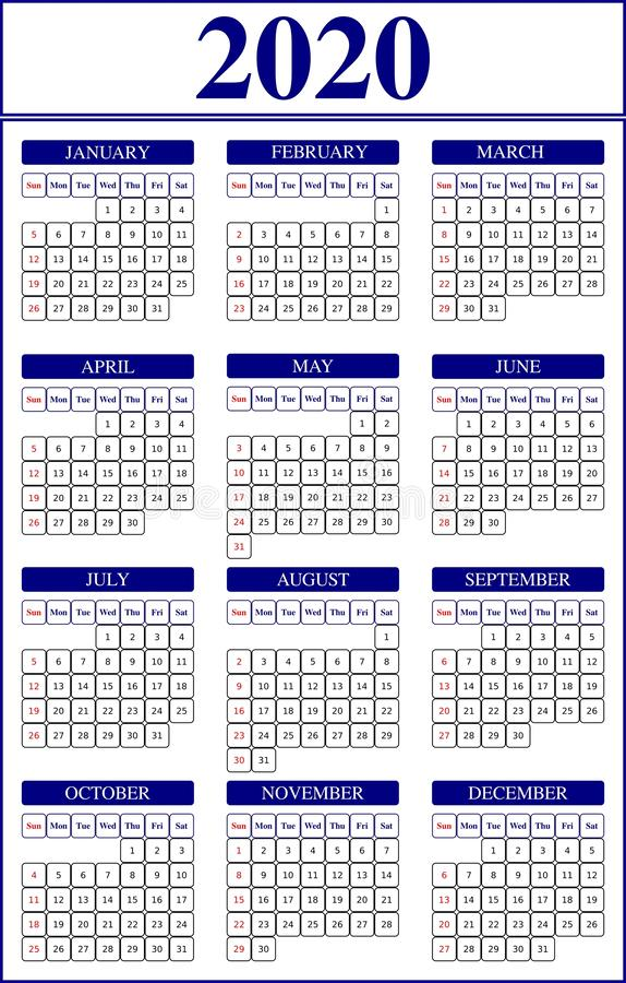 Calendar template for 2020 year. 2020 calendar on white background. Week starts on sunday. Holidays in red colours. Vector stock image