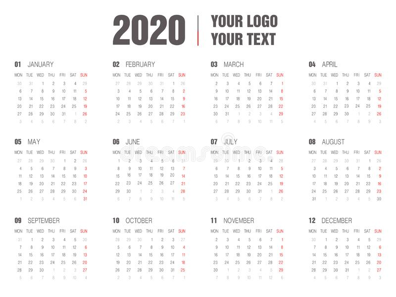 2020 Calendar template.Yearly planner stationery universal, classic design horizontal royalty free illustration