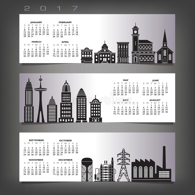 2017 calendar with three building banners vector illustration