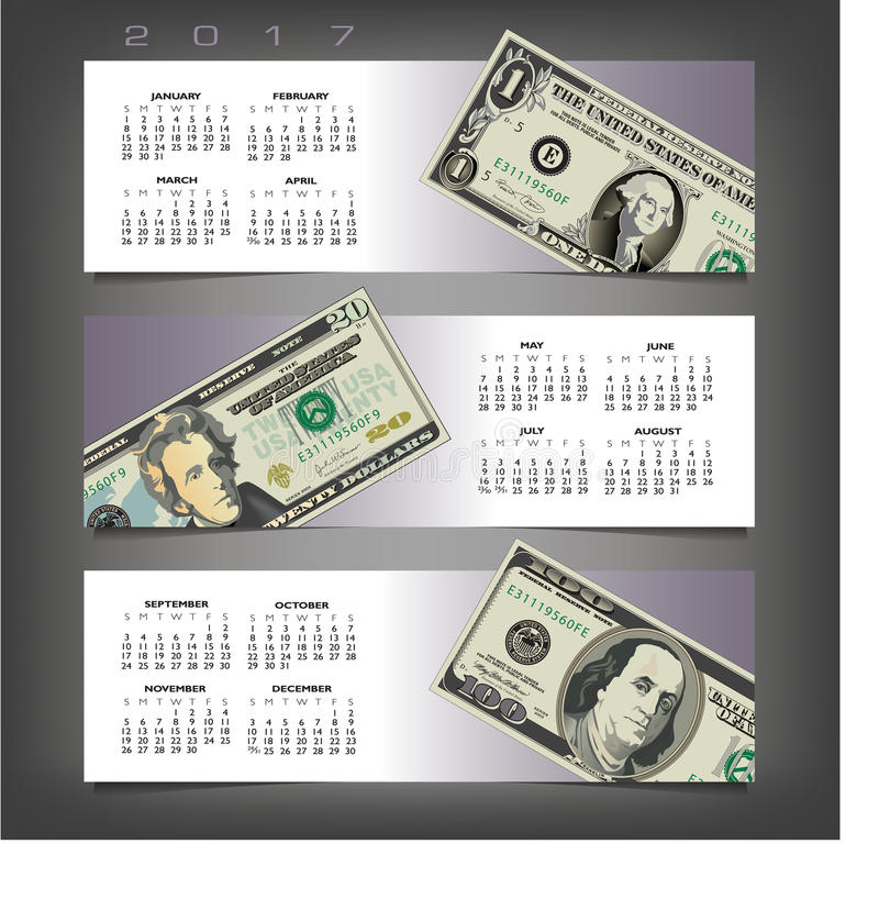 2017 calendar with three money banners stock illustration