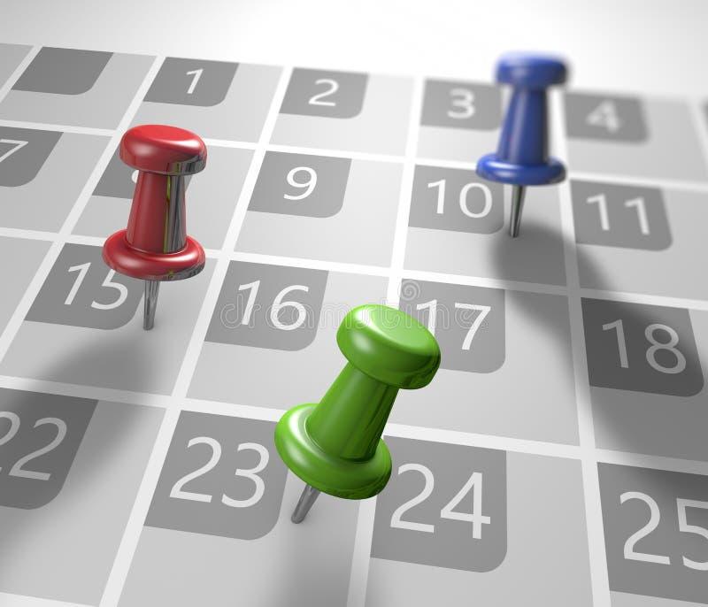 Calendar with thumbtacks royalty free illustration
