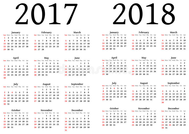 Calendar for 2017 and 2018. To be used by designers. An . EPS version is available too stock illustration