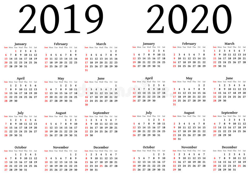 Calendar for 2019 and 2020 stock illustration