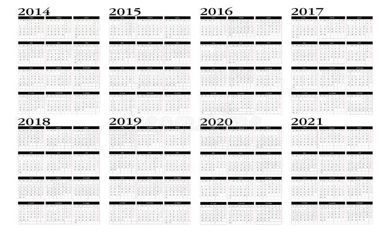 2014 To 2020 Calendar Calendar 2015 to 2020 stock vector. Illustration of march   41082357