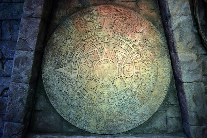 Calendar of the tribe Maya. Stone texture stock images