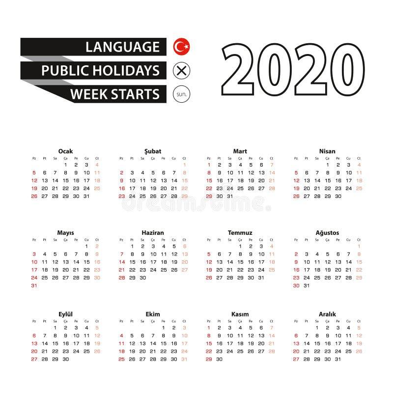 2020 calendar in Turkish language, week starts from Sunday stock illustration