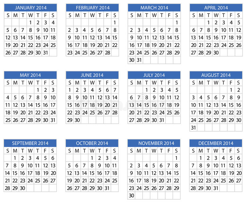 Download Calendar 2014 stock vector. Image of diary, isolated - 33807754