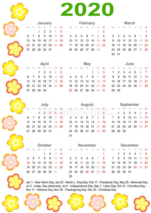 Calendar 2020 for USA with colorful flowers vector illustration